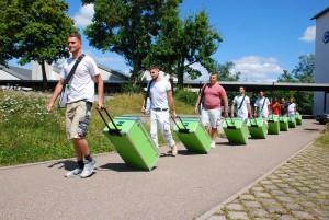 Grüne Werkzeugkoffer für Stuckateur-Azubis
